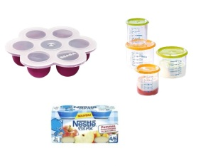 Babyportions et pots Béaba, compotes de fruits Nestlé bébés.