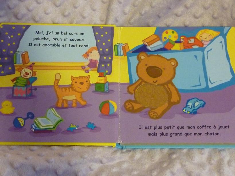 Mon ours est plus petit que mon coffre à jouets.