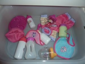 Accessoires vendus avec les poupons.