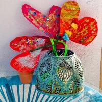 Un bouquet de cœurs en fil chenille - DIY