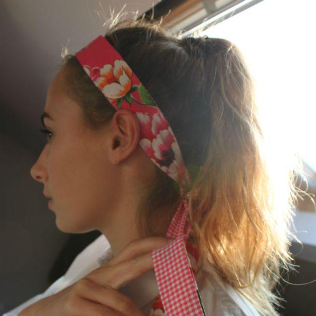 headband a coudre fleuri et vichy rose